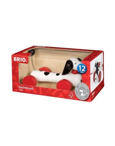 BRIO Zabawka do Ciągnięcia Jamnik Biały