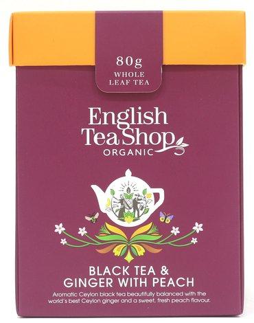English Tea Shop, Herbata sypana, Black Tea & Ginger with Peach, 80 g
