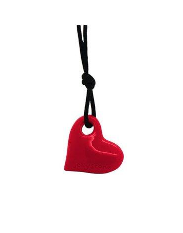 Wisiorek silikonowy dla dziewczynki, czerwone serce, Jellystone Designs