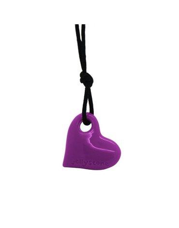 Wisiorek silikonowy dla dziewczynki, fioletowe serce, Jellystone Designs