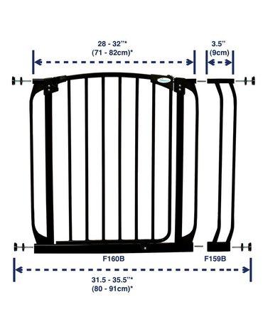 Dreambaby - Rozszerzenie bramki bezpiecz.Chelsea-9cm(wys.75cm)-czarne(brąz.karton)