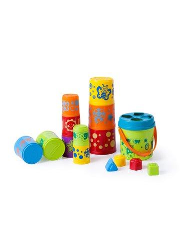 Miniland - zabawki edukacyjne - Kubeczki i wiaderka układanki - różne wzory