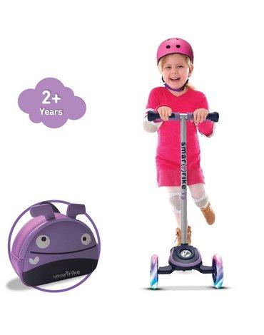 Smart Trike Hulajnoga Scooter T3 + świecące koła LED + torba-fioletowa