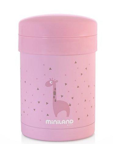 Miniland - Termos z 2 pojemnikami hermetycznymi na jedzenie Azure-Rose - różowy