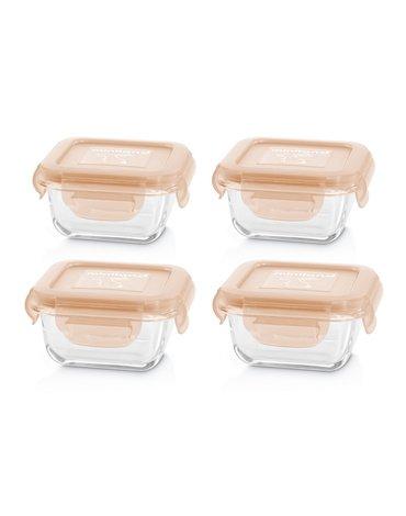 Miniland - Pojemniki szklane kwadratowe ECO-friendly 4x160ml - Królik