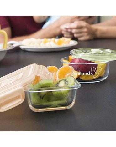 Miniland - Pojemniki szklane okrągłe ECO-friendly 3x300ml - Królik