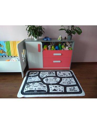 MARKO - Dywan dla dzieci ultra miękki czarno-biały 100x150 Miasto