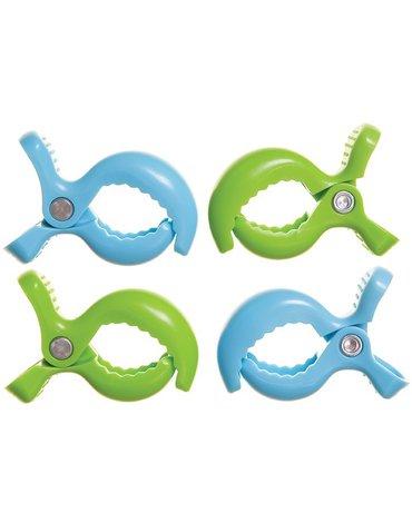 Dreambaby - Klipsy do wózka - 4 szt. - 2x zielony; 2x niebieski