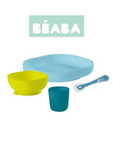 Beaba - Komplet naczyń z silikonu z przyssawką blue