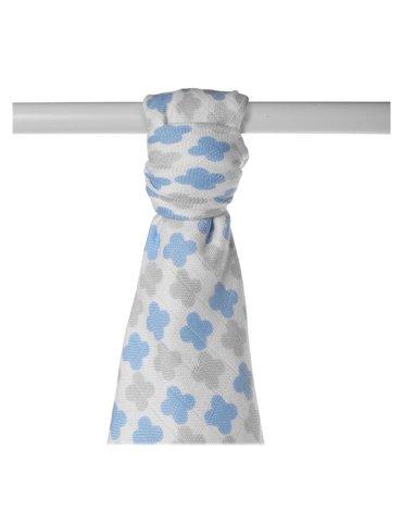 Ręcznik bambusowy XKKO BMB 90x100 - Scandinavian Baby Blue Cross
