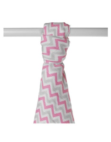 Ręcznik bambusowy XKKO BMB 90x100 - Baby Pink Chevron