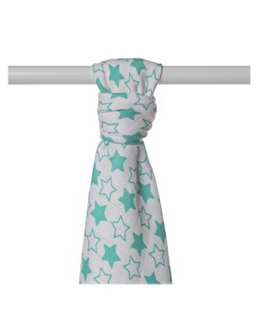Ręcznik bambusowy XKKO BMB 90x100 - Little Stars Turquoise