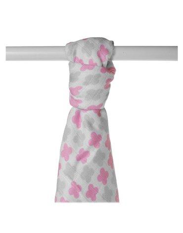Ręcznik bambusowy XKKO BMB 90x100 - Scandinavian Baby Pink Cross