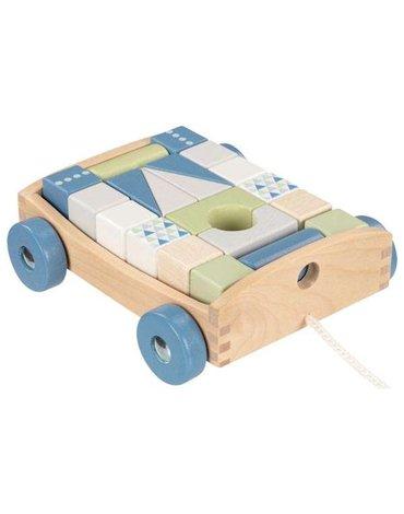 Goki® - Wózek do ciągnięcia z 20 klockami do budowania, Lifestyle Aqua