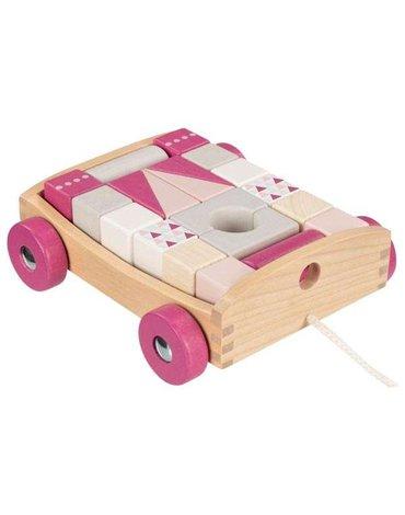 Goki® - Wózek do ciągnięcia z 20 klockami do budowania, Lifestyle Berry