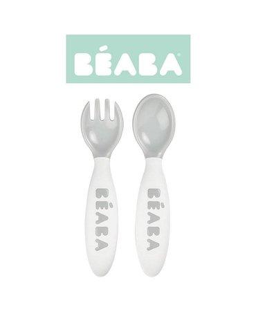 Beaba - Sztućce plastikowe w etui grey