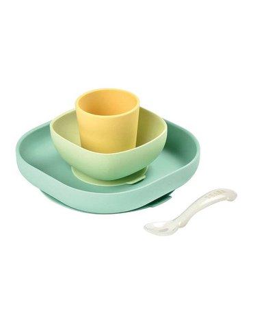 Beaba - Komplet naczyń z silikonu z przyssawką yellow