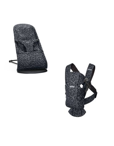 BABYBJORN - leżaczek BLISS MESH - Antracytowy/Leopard + MINI 3D Mesh – nosidełko, Antracytowy/Leopard