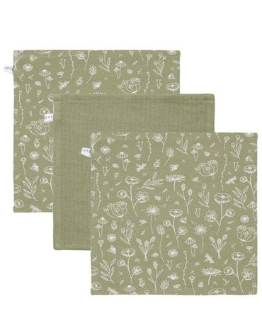 Little Dutch Chusteczki (3 szt.) Wild Flowers Oliwka / Pure Olive TE50721011