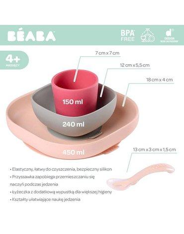 Beaba - Komplet naczyń z silikonu z przyssawką pink