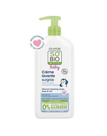 So Bio etic - SO BIO, Ultra bogaty krem do mycia ciała i włosów niemowląt i dzieci, 500 ml