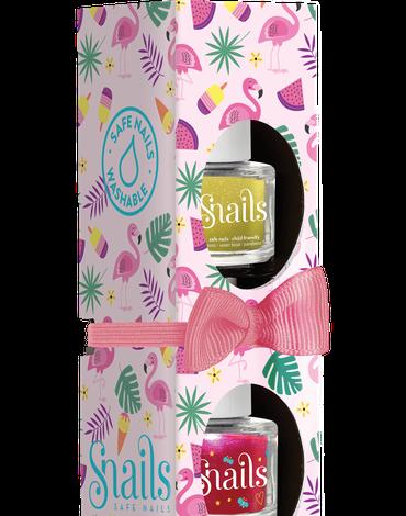 Zestaw 3 lakierów do paznokci dla dzieci Snails Mini - Flamingo