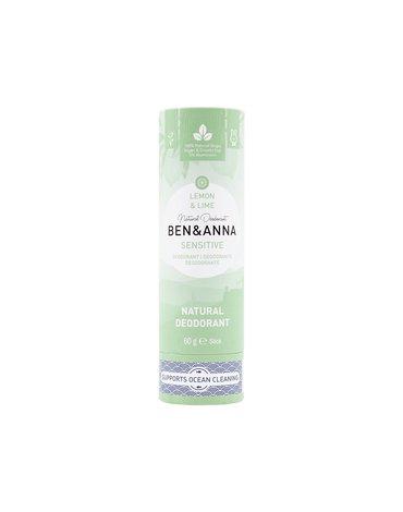 BEN and ANNA Sensitive, Naturalny dezodorant bez sody w sztyfcie kartonowym, Lemon i Lime, 60 g