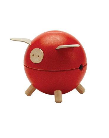 Plan Toys - Świnka skarbonka - czerwona - barwy sadu