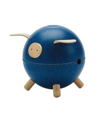 Plan Toys - Świnka skarbonka - niebieska - barwy sadu