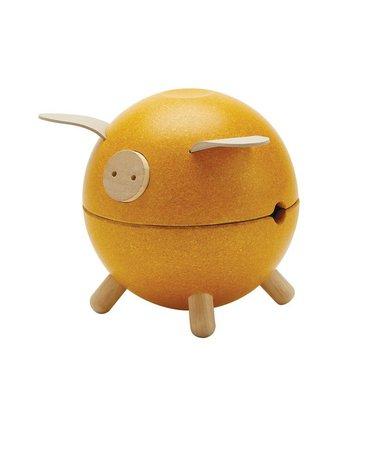 Plan Toys - Świnka skarbonka - żółta - barwy sadu