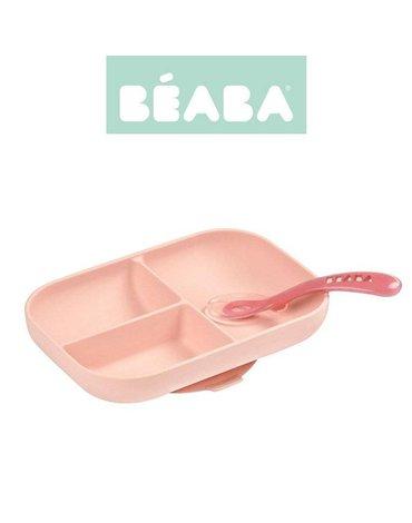 Beaba - Komplet naczyń z silikonu trójdzielny talerz z przyssawką + łyżeczka Pink