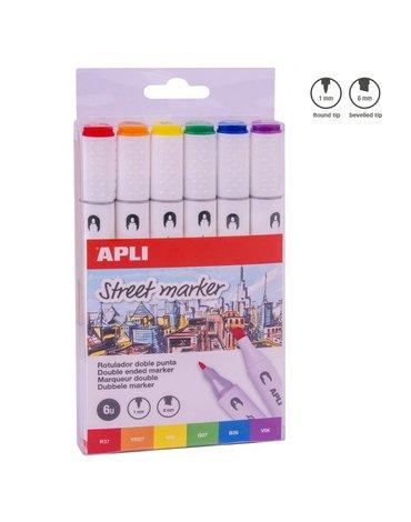 Apli Kids - Markery dwustronne Street Marker Apli - 6 kolorów