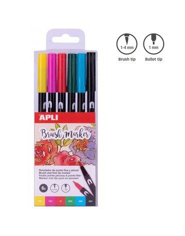 Apli Kids - Markery dwustronne Brush Marker Apli - 6 kolorów