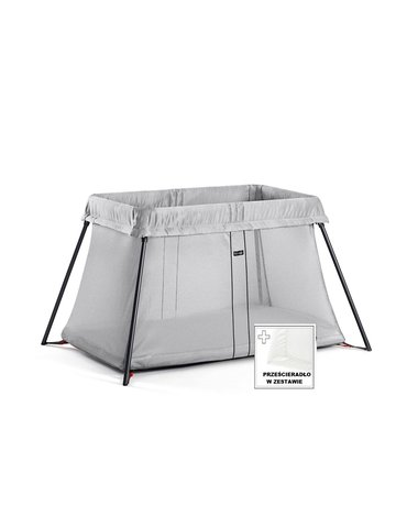 BABYBJORN - łóżeczko turystyczne LIGHT - srebrny + prześcieradło
