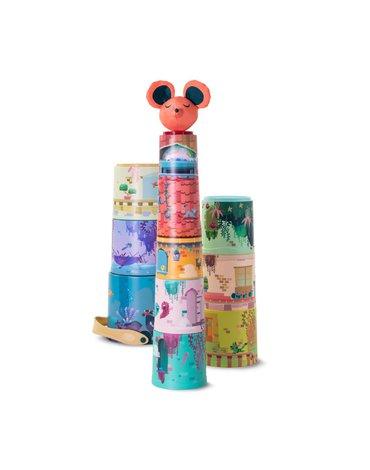 Miniland - zabawki edukacyjne - Kubeczkowa piramidka -  magiczny zamek 11 szt
