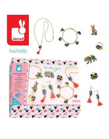 Zestaw kreatywny do tworzenia biżuterii z kurczliwego plastiku Geometrix 8+, Janod