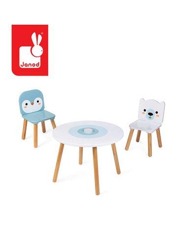 Zestaw drewnianych mebelków stolik i 2 krzesła Arktyka, Janod