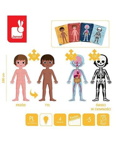 Puzzle edukacyjne gigantyczne Ciało człowieka 50, 75 i 100 elementów 5 +, Janod