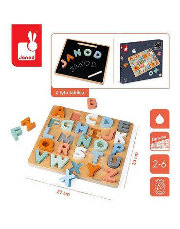 Drewniane puzzle Alfabet 3D z tablicą Sweet Cocoon, Janod
