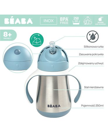 Beaba Butelka - kubek niekapek stalowa ze słomką 250 ml windy blue