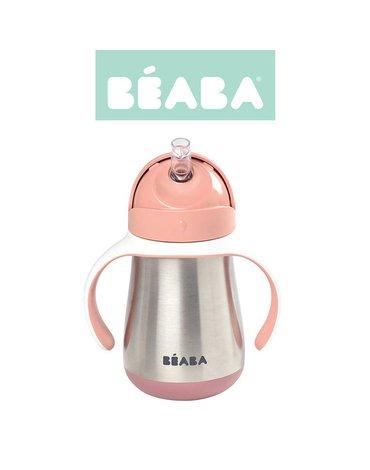 Beaba Butelka - kubek niekapek stalowa ze słomką 250 ml old pink