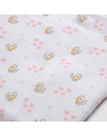 Beaba Muślinowe pieluszki - kocyki z bawełny organicznej 70x70 cm zestaw 3 szt. Łabędź