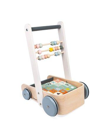 Wózek pchacz drewniany z 20 klockami Sweet Cocoon, Janod