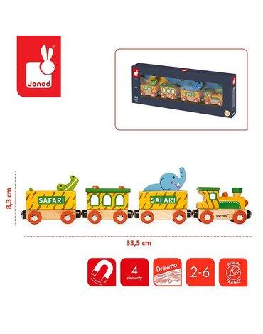 Pociąg drewniany Safari Story, Janod