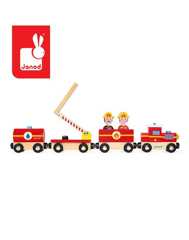 Pociąg drewniany Straż pożarna Story, Janod