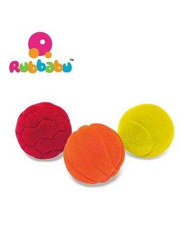 Rubbabu Zestaw 3 małych sensorycznych piłek sportowych
