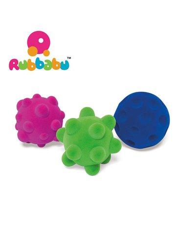 Rubbabu Zestaw 3 małych sensorycznych piłek