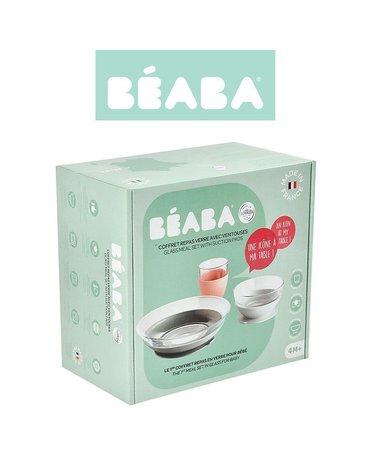 Beaba Komplet naczyń z hartowanego szkła Duralex® z podstawkami z kauczuku Eucalyptus