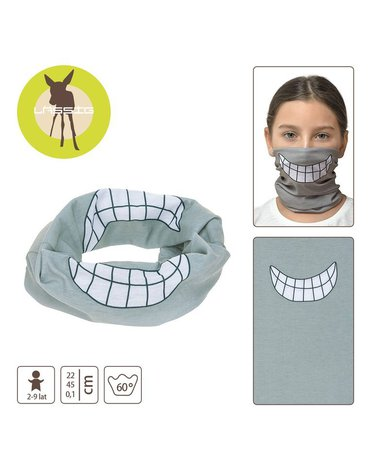 Lassig Wielofunkcyjna chusta komin Flexi Loop Smile grey
