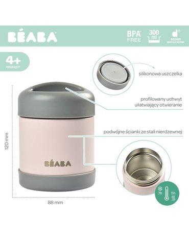 Beaba Pojemnik - termos obiadowy ze stali nierdzewnej z hermetycznym zamknięciem 300 ml dark mist/light pink